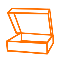 Logo einer offenen Cartonage in orange