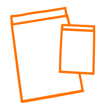Flachbeutellogo in orange