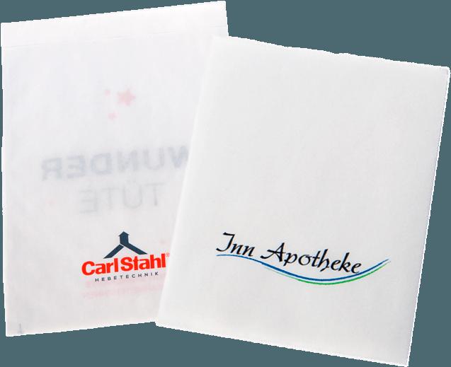 Flachbeutel mit Logos von Carl Stahl und Inn Apotheke