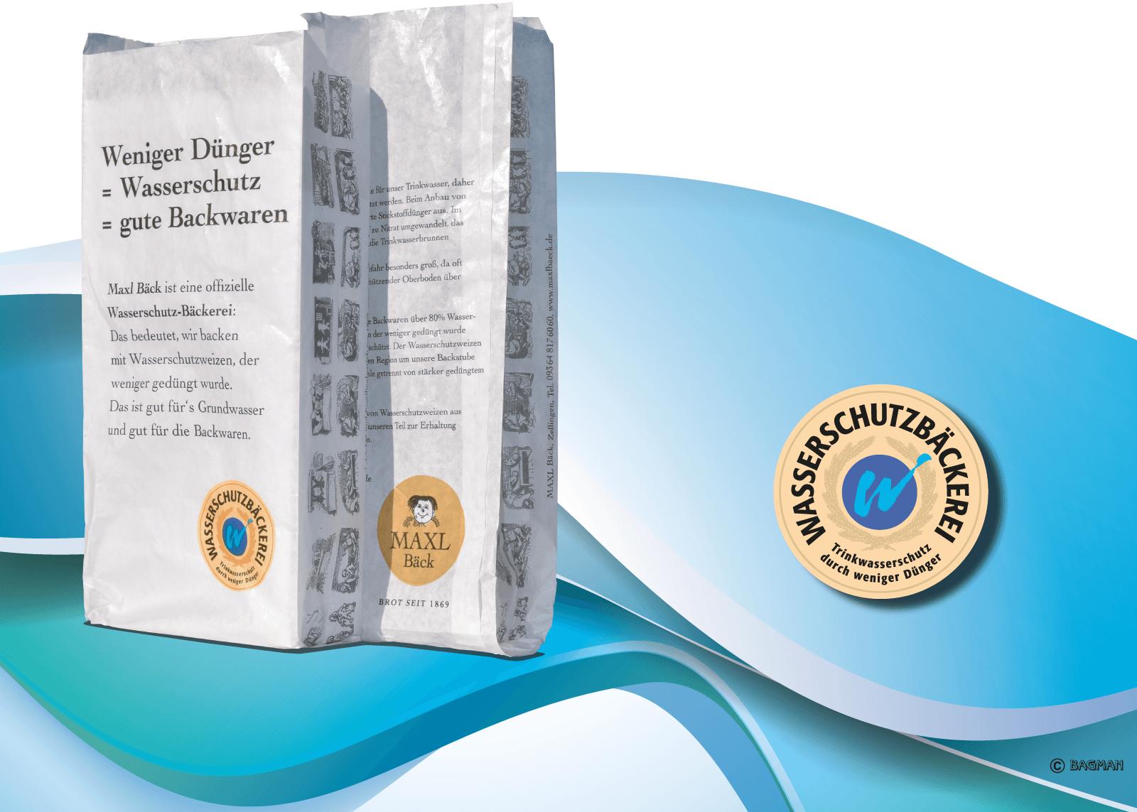 Faltenbeutel werben für Wasserschutzbrot